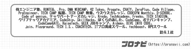 検討したプログラミングスクール一覧