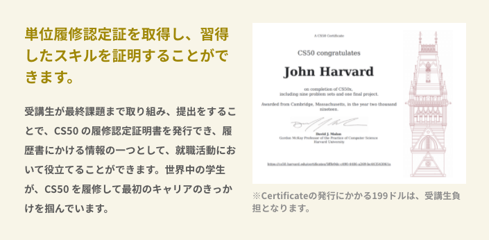 CODEGYM_Academyのハーバード大学の受講証明書